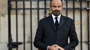 Edouard Philippe lors des obsèques de l'ancien président Jacques Chirac qui ont eu lieu ce même 30 septembre 2019 à Saint-sulpice à Paris (MARTIN BUREAU / AFP)