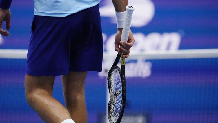 Novak Djokovic en finale de l'US Open face à Danil Medvedev le 12 septembre 2021 à New York. (TIMOTHY A. CLARY / AFP)