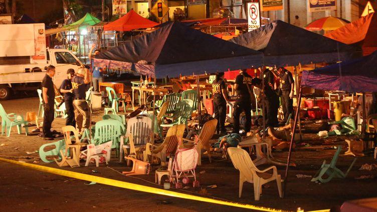 Une explosion s'estproduite sur un marché nocturne deDavao, dans le sud de l'archipel desPhilippines, le 2 septembre 2016. (MANMAN DEJETO / AFP)