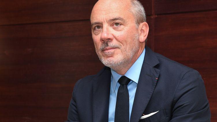 Le PDG d'Orange Stéphane Richard, le 13 juin 2019 à Abidjan en Côte-d'Ivoire. (ISSOUF SANOGO / AFP)