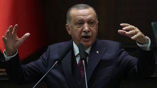 Le président turc Recep Tayyip Erdogan a annoncé que les autorités allaient renvoyer à partir de lundi 11 novembre les jihadistes étrangers dans leur pays d'origine. Une dizaine de terroristes détenus en Turquie seraient français. (ADEM ALTAN / AFP)