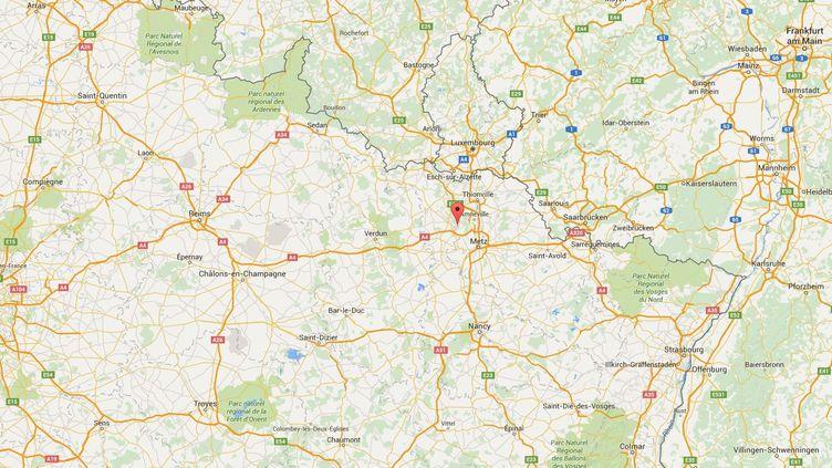 Capture d'écran de Google maps pointant Joeuf, en Meurthe-et-Moselle, où un enfant a été poignardé, le 15 octobre 2015. ( GOOGLE MAPS / FRANCETV INFO )