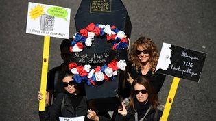Des enseignants manifestent à Marseille (Bouches-du-Rhône), le 19 mars 2019. (BORIS HORVAT / AFP)