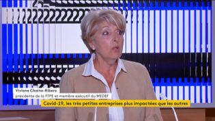Viviane Chaine-Ribero,présidente de la Fédération des très petites entreprises et membre exécutive du MEDEF. (FRANCEINFO)