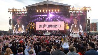 La chanteuse Ariana Grande lors d'un concert caritatif en hommage aux victimes de l'attentat, à Manchester (Royaume-Uni), le 4 juin 2017. (DAVE HOGAN FOR ONE LOVE MANCHEST / ONE LOVE MANCHESTER / AFP)