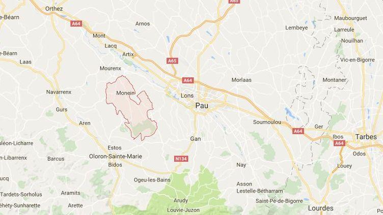 Plusieurs tombes ont été profanées dans la nuit de vendredi à samedi à Monein (Pyrénées-Atlantiques) ainsi que dans quelques villages voisins, a indiqué le procureur du département dimanche 9 octobre 2016. (GOOGLE MAPS)