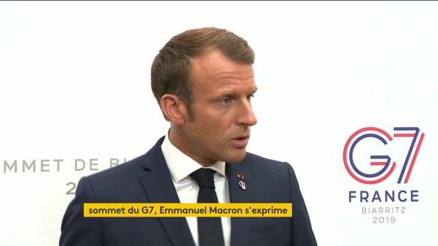 """Le G7 n'a pas accordé de """"mandat formel"""" à la France sur la question iranienne, mais les discussions se poursuivent, a précisé Emmanuel Macron, après des informations selon lesquelles les dirigeants réunis à Biarritz auraient chargé Paris d'adresser un message commun à Téhéran."""