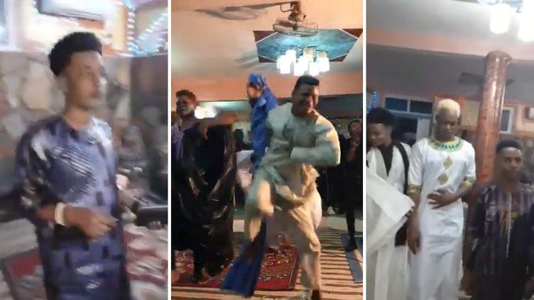 Captures d'écranissues d'une vidéo tournée lors de la fête avec un smartphone et incriminée par la justice mauritanienne. (YOUTUBE)
