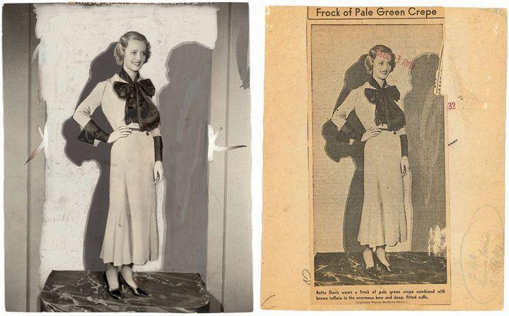 L'actrice Bette Davis en 1932. En arrière-plan, le décor est masqué par un fond uni. Un double effet d'ombre est recréé de manière très artificielle, dans deux teintes de gris. (IRVING LIPPMAN / WARNER BROTHERS)