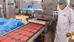 La chaîne de production de steak haché surgelé de la Société économique bragarde, à Saint-Dizier, en juin 2011. (FRANCOIS NASCIMBENI / AFP)