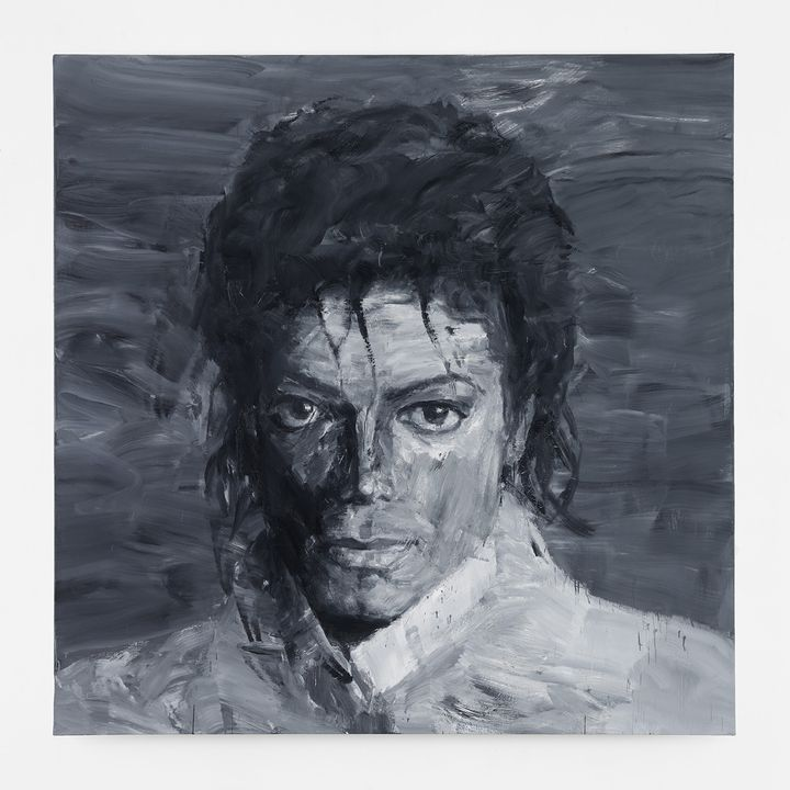 In memory of Michael Jackson de Yan Pei Ming (2017) Huile sur toile (200 x 200 cm).  (Courtesy of the artist, Galleria Massimo De Carlo and Galerie Thaddaeus Ropac)