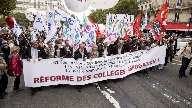 (Manifestation du corps enseignant contre la réforme du collège le 17 septembre 2015 © MaxPPP)