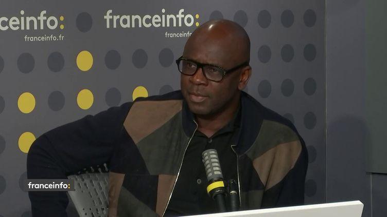 Lilian Thuram, ancien footballeur et aujourd'hui président de la Fondation éducation contre le racisme, était l'invité de franceinfo lundi 10 mai 2021. (FRANCEINFO / RADIO FRANCE)
