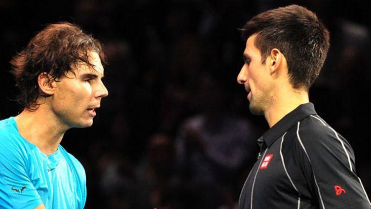 Rafael Nadal et Novak Djokovic lors de la finale du Masters de Londres en 2013