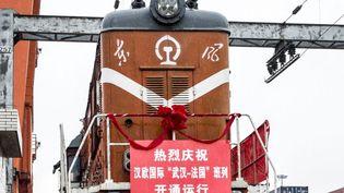 L'arrivée du premier train Wuhan-Lyon en gare de Saint-Priest, le 21 avril 2016. Parti de Chine le 6 avril, le fret de 41 conteneurs de pièces automobiles et électroniques a parcouru 11.500 km en quinze jours et traversé le Kazakhstan, la Russie, la Biélorussie, la Pologne et l'Allemagne. (Jeff Pachoud / AFP)