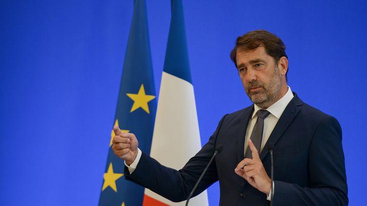 Le ministre de l'Interieur, Christophe Castaner, lors d'une conférence de presse sur le racisme et la mise en cause des forces de l'ordre, le 8 juin 2020,à Paris. (ISA HARSIN/SIPA)