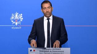 Le porte-parole du gouvernement, Christophe Castaner, présente le premier budget du mandat d'Emmanuel Macron, mercredi 27 septembre 2017 à l'Elysée. (FRANCEINFO)