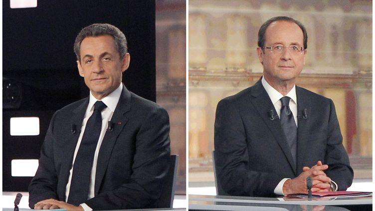 Nicolas Sarkozy et François Hollande, les deux candidats à l'élection présidentielle avant le débat télévisé qui les a opposés, le 2 mai 2012 dans le studio de la Plaine-Saint-Denis près de Paris. (PATRICK KOVARIK / POOL / AFP)
