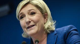 La présidente du Front national, Marine Le Pen, le 15 janvier 2018 à Nanterre (Hauts-de-Seine). (STEPHANE DE SAKUTIN / AFP)