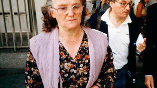 Monique Villemin, grand-mère de Grégory, ici le 12 juillet 1985,est entendue le 14 juin 2017, en audition libre. (MARCEL MOCHET / AFP)