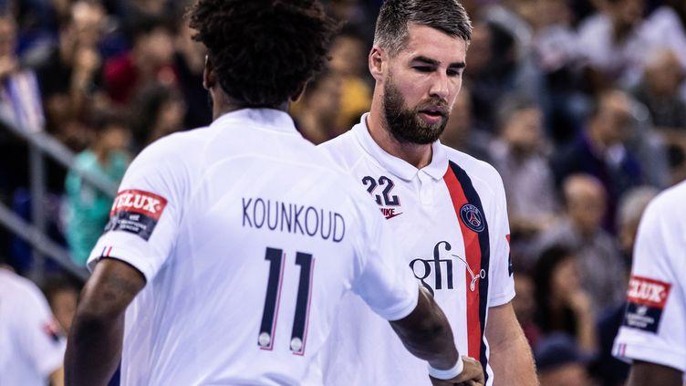 Les joueurs du PSG handball Luka Karabatic et Benoit Kounkoud (JAVIER BORREGO / SPAINDPPI)