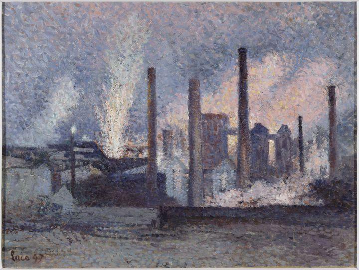 """Maximilien Luce, """"Aciéries près de Charleroi"""" (1897), musée d'Orsay, Paris, France (© photo musée d'Orsay / RMN)"""
