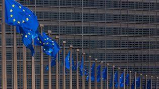 Des drapeaux de l'Union européenne flottent devant l'immeuble de la Commission, à Bruxelles, le 28 mai 2020. (JONATHAN RAA / NURPHOTO / AFP)