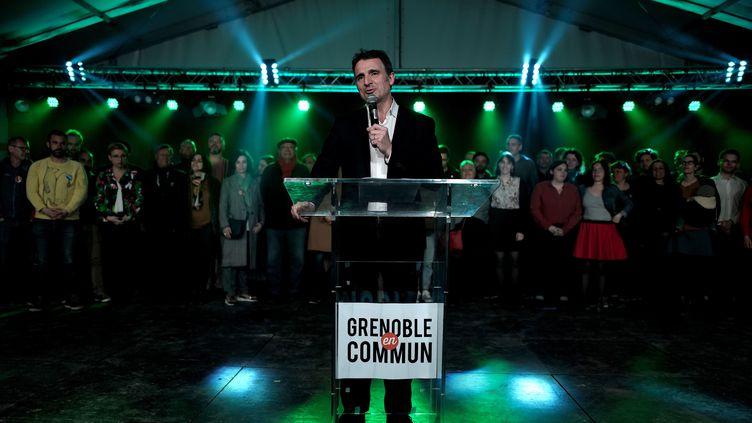 Le maire sortant de Grenoble, Eric Piolle (EELV), le 11 mars 2020 lors d'un meeting électoral. (JEFF PACHOUD / AFP)