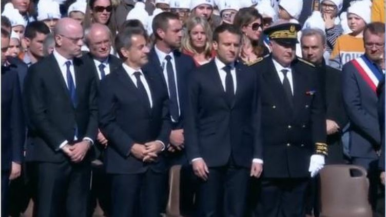 Emmanuel Macron et Nicolas Sarkozy étaient côte à côte pour commémorer les maquisards tués sur le plateau des Glières. Les précisions sur place de Catherine Demangeat. (FRANCE 2)