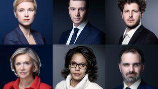 Six des candidats à la présidence de la région Ile-de-France pour les élections régionales. (JOEL SAGET / AFP)