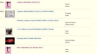Liste des annonce pour des billets de concert pour le groupe Indochine, annonces du site internet Le Bon Coin  (DR)