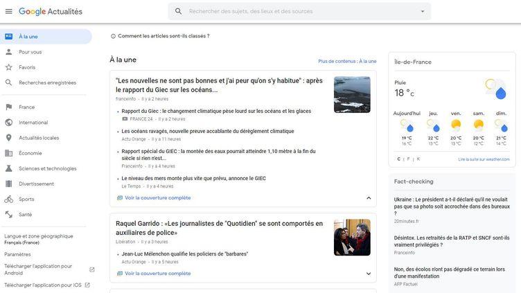 Capture d'écran de Google actualités, le portail d'information de Google. (GOOGLE ACTUALITES)