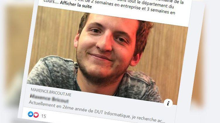 Maxence Bricout, étudiant en informatique de 19 ans, a financé cinq panneaux publicitaires pour tenter de trouver un contrat en alternance dans le domaine de la cybersécurité. (CAPTURE ECRAN FACEBOOK)