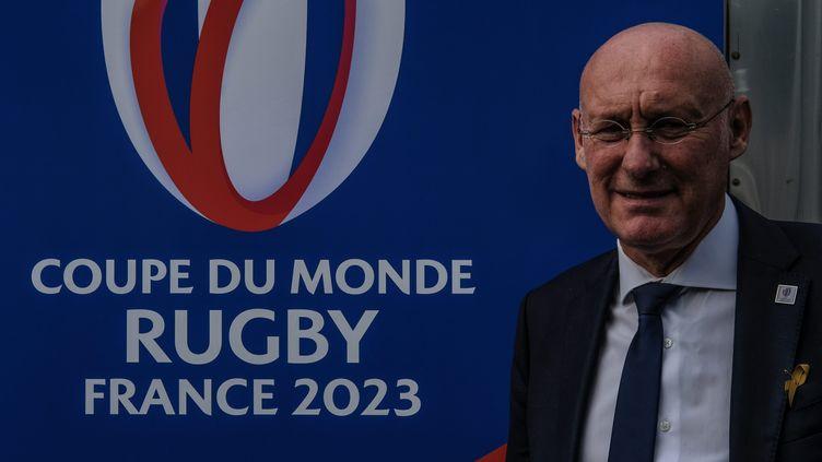 Le président de la Fédération française de rugby, à Paris, pour inaugurer le train du Mondial 2023. (SADAK SOUICI / MAXPPP)