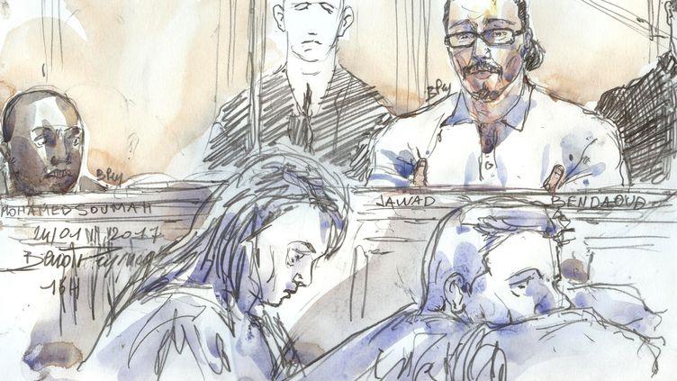 Le procès de Jawad Bendaoud, croqué par un dessinateur judiciaire, le 24 janvier 2018. (BENOIT PEYRUCQ / AFP)