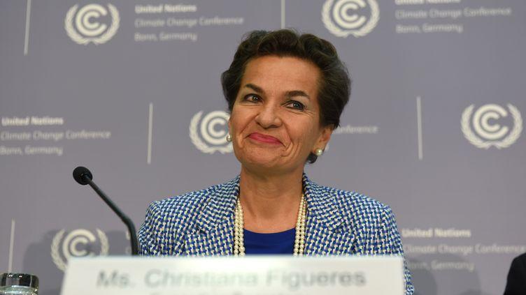 Lasecrétaire exécutive de la Convention de l'ONU sur le climat, Christiana Figueres, le 20 octobre 2015 à Bonn (Allemagne). (PATRIK STOLLARZ / AFP)