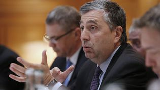 Jean-Francois Cirelli,le 23 avril 2014 lors d'une conférence de presse à Paris, lorsqu'il était vice-président de GDF-Suez. (FRANCOIS GUILLOT / AFP)