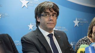 Le président destitué de la Catalogne, Carles Puigdemont, à Bruxelles, le 31 octobre 2017. (MAXPPP)