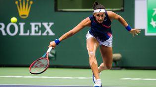 Caroline Garcia s'est inclinée face à l'Américaine Cori Gauff lors du 2e tour du tournoi d'Indian Wells (Californie), dans la nuit du 9 au 10 octobre 2021. (DPPI via AFP)