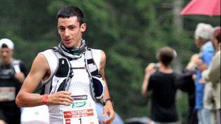 L'Espagnol Kilian Jornetsur la course de l'UTMB, le 31 août 2018. (JEAN-PIERRE CLATOT / AFP)