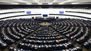 Les députés du Parlement européen participent à un vote en session plénière, en février 2019, à Strasbourg. (FREDERICK FLORIN / AFP)