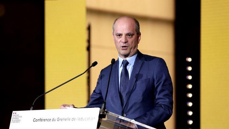 Le ministre de l'Education, Jean-Michel Blanquer, auConseil économique, social et environnemental (Cese), à Paris, pour la présentation des conclusions du Grenelle de l'éducation, le 26 mai 2021. (GEOFFROY VAN DER HASSELT / AFP)
