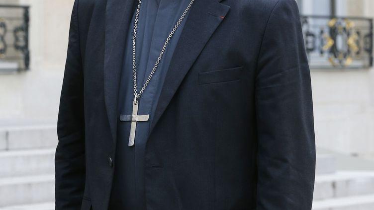 L'évêque de Pontoise, Stanislas Lalanne, le21 juillet 2014 sur le perron de l'Elysée, à Paris. (FRANCOIS GUILLOT / AFP)