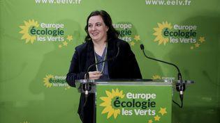 La secrétaire nationale d'Europe Ecologie-Les Verts, Emmanuelle Cosse, adresse ses vœux à la presse, le 8 janvier 2016, à Paris. (MAXPPP)