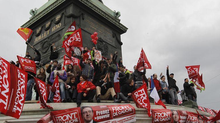 18 mars 2012 place de la bastille à Paris, grand rassemblent de Jean-luc Mélenchon, candidat du Froant de gauche (THOMAS SAMSON / AFP)