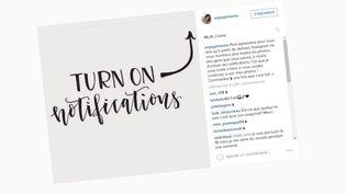 Sur son compteInstagram, la YouTubeuse EnjoyPhoenix appelle ses abonnés à activer les notifications pour ne rater aucunede sespublications. (INSTAGRAM)