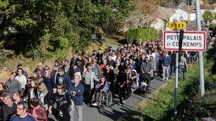 Des habitants de Petit Palais et Cornemps (Gironde) défilent à la mémoire des victimes de l'accident de Puisseguin, le 25 octobre 2015. (  MAXPPP)