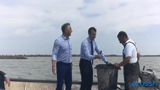 Le ministre de l'Economie, Emmanuel Macron, sur un bateau de pêcheur, dans l'Hérault, le 27 mai 2016. (PLUSSH / PATRICK VIGNAL)