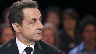"""Nicolas Sarkozy, président de la République et candidat UMP, le 6 mars 2012, lors de l'émission """"Des paroles et des actes"""". (LIONEL BONAVENTURE / AFP)"""