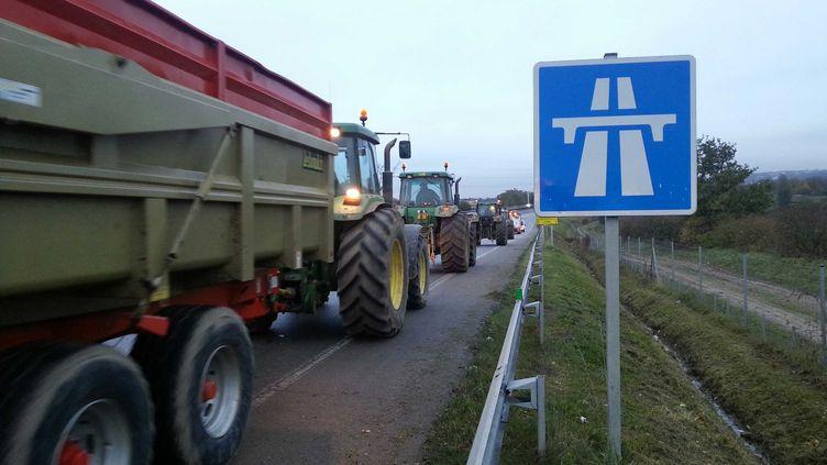 """Des tracteurs s'engagent sur l'autoroute A13, le 21 novembre 2011, dans les Yvelines, dans le cadre d'une tentative de """"blocus"""" de Paris. (YANN THOMPSON / FRANCETV INFO)"""